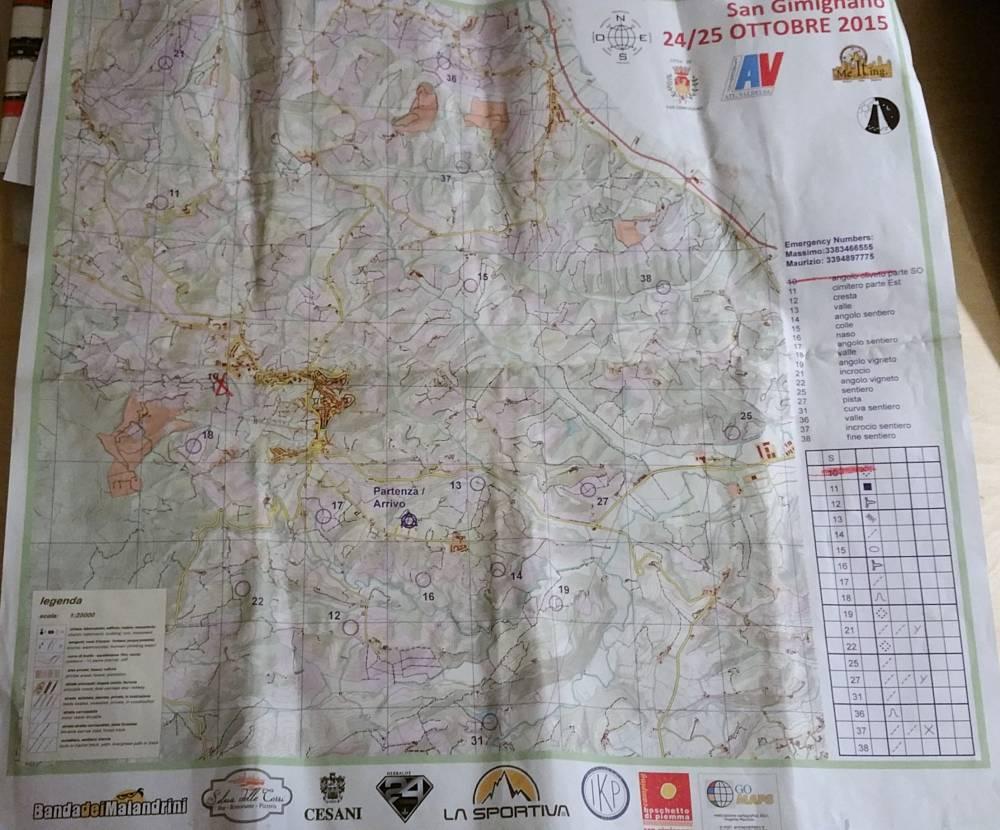 Mappa Rogaining San Gimignao 2015